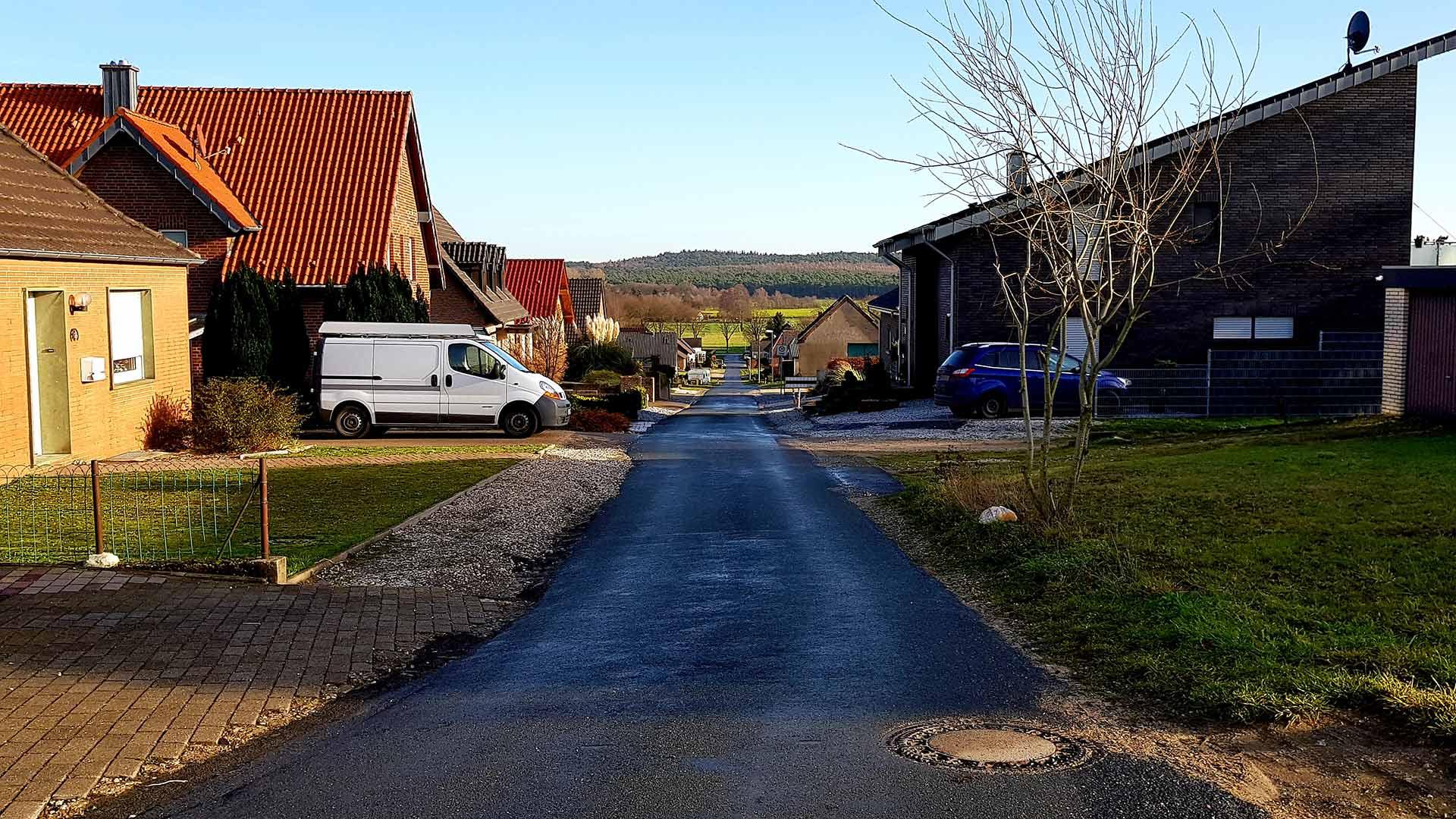 Bovenaan de Bergstrasse in Schottheide